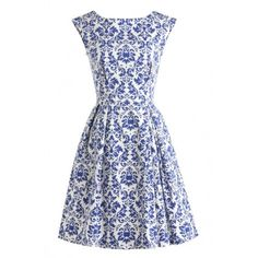 Blue And White Porcelain Inspired Skater Dress ($55) ❤ liked on Polyvore