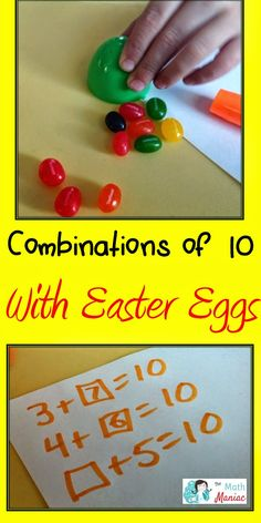 A fun way to use Easter eggs and jelly beans!  You can't have to many games for combinations of 10! Can also easily be adapted to work on combinations of any number.