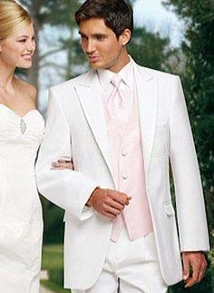 Romantic White Lapel Worsted Groom Wedding Tuxedo - Groom Wear - Wedding