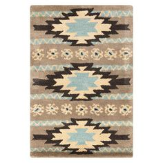 Shop for Dick Idol Hand-tufted Grey/Blue Southwestern Aztec Ranenna Wool Rug x Get free delivery On EVERYTHING* Overstock - Your Online Home Decor Store! Southwestern Decorating, Southwest Decor, Southwestern Style, Santa Fe Style, Neutral Colour Palette, Color Palettes, Western Homes, Bathroom Wall Art, Joss And Main