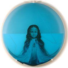 Clair de Lune by Javier Chavira, oil over tempera on translucent Plexiglas with transparent blue Plexiglas, 42 inch diameter, 2014