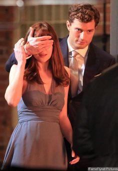 Jamie Dornan Blinds Dakota Johnson in 'Fifty Shades of Grey' New Set Photo