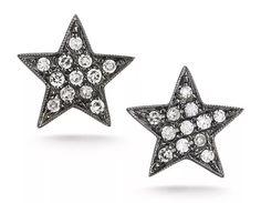 Julianne Himiko star earrings in 14k black rhodium with 0.11 ct. t.w. diamonds, $440; Dana Rebecca Designs