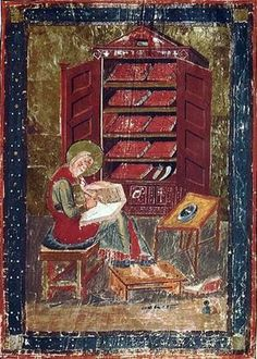 Esra arbeitet an der Bibel, Mitte 8. Jahr- hundert. Quelle: Codex Amiatinus, Laurenziana-Bibliothek (Biblioteca Medicea Laurenziana), Florenz, Italien Künstler: Unbekannt