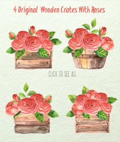 Watercolor Roses in Boxes by LarysaZabrotskaya on Creative Market