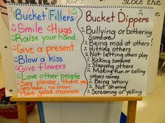 "Have you filled your bucket today? How about a friend's bucket? LOVE all the Bucket Filler ideas! Visit this website for the books and many more ideas to go with this behavior management tool. http://www.bucketfillers101.com/  This is our first ""T"" chart for year, a list of Bucket Filler behaviors and a list of Bucket Dipper behaviors. This was totally kid generated!"