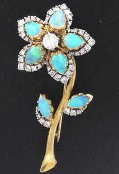Casbah 18k Yellow Gold, Opal and Diamond Brooch