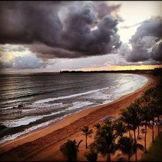Carribean beach before sunrise