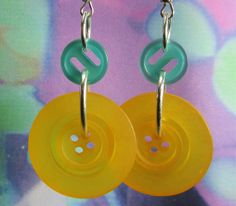 Items similar to Big Button Fashion Earrings, Bold Design on Etsy Statement Earrings, Fashion Earrings, Washer Necklace, Buttons, Yellow, Big, Etsy, Jewelry, Design