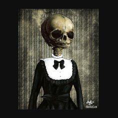 Print 8x10  Untitled  Skull Skeleton Dark Art Fetal by chuckhodi