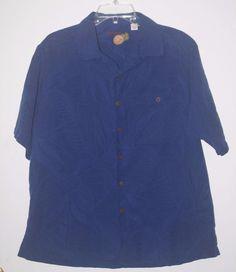 Caribbean Hawaiian Blue Button Front Shirt Large Short Sleeve Silk Blend #Caribbean #Hawaiian