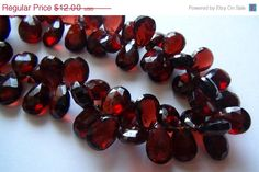 ON SALE Mozambique garnet faceted pear briolette by finegems, $9.84