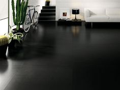 Find out all of the information about the COTTO D'ESTE product: indoor tile / outdoor / wall / floor BLACK-WHITE : ULTRAWHITE. Black Laminate Flooring, Black Wood Floors, Black And White Tiles, White Walls, Black White, Living Room Flooring, Home Living Room, Black Rooms, Black Floor