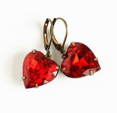 These vintage red heart shaped gem earrings are charming and alluring like the scent of my favorite fragrance Cheery Cherry Jubilee.  They evoke the warmth of yesteryear and the staying power of an item that is considered classic.