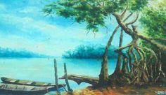 Canoas no Mangue (2000). Óleo sobre tela de Jeriel.  Dimensões: 30 x 40cm. Coleção particular - AP.