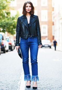50 street style outfits to bookmark for 2016 who what wear u Classy Outfits, Stylish Outfits, Pretty Outfits, Beautiful Outfits, Fashion Outfits, My Jeans, Skinny Jeans, Jacket Jeans, Crop Jeans