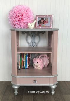 Pink nightstand; nightstand; nightstand with shelf; girls bedside table; nursery table My Furniture, Recycled Furniture, Refurbished Furniture, Furniture Making, Furniture Makeover, Pink Nightstands, Bedside, White Wood Dresser
