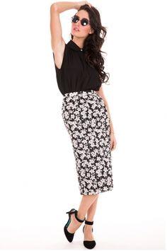 Black Summer Floral Skirt