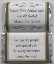 50TH GOLDEN GOLD WEDDING ANNIVERSARY PERSONALIZED PARTY CANDY WRAPPERS FAVORS