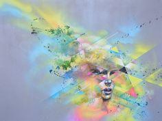 Allison Torneros aka Hueman a grandi en Californie du Nord et a reçu son diplôme en Design   Media Arts en 2008. Que ce soit ses peintures sur toile ou ses fresques massives à la bombe, elle peint souvent sur la condition humaine pour créer des mash-ups mêlant abstrait et figuratif.