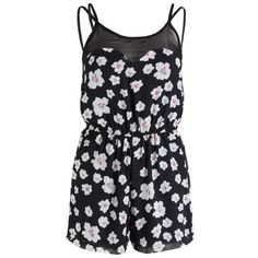 AX Paris Women's Daisy Print Playsuit ($13) ❤ liked on Polyvore featuring jumpsuits, rompers, dresses, playsuits, tops, black, playsuit romper, patterned jumpsuit, spaghetti strap romper and romper jumpsuit