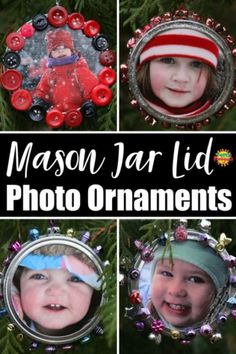 Mason Jar Lid Photo Ornament - Kids can make this adorable keepsake ornament with a mason jar lid, a photo and some buttons, beads or sequins. It's a fun and easy Christmas craft for kids of all ages. Christmas Crafts For Kids, Christmas Fun, Holiday Crafts, Fun Crafts, Christmas Ornaments, Gift Crafts, Holiday Activities, Jar Lid Crafts, Mason Jar Crafts