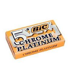 5 Bic Chrome Platinum Double Edge Blades, 1 packs of 5 blades) 1 pack of 5 blades) BIC Chrome Platinum double edge razor blades are Chrome Platinum plated and fit all double edge razors. Made in Greece. Shaving Razor, Wet Shaving, Shaving & Grooming, Disposable Razor, Safety Razor, Blade, Chrome, Nifty