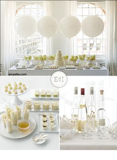 I know this is for a wedding but I can use some of the ideas like the balloons over the table and all the white serving pieces!