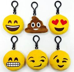 These season's hottest accessory for your bag - a large plush emoji keychain!