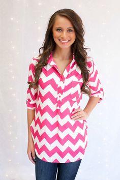The Pink Lily Boutique - Fuschia Chevron Button Blouse, $34.00 (http://thepinklilyboutique.com/fuschia-chevron-button-blouse/)