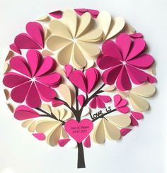 3D Guest Book Ideas - Unique Wedding Guest Book -Personalized Guestbook - Small Size for up to 50 Guests - Hot Pink and Ivory on Etsy, US$140,00