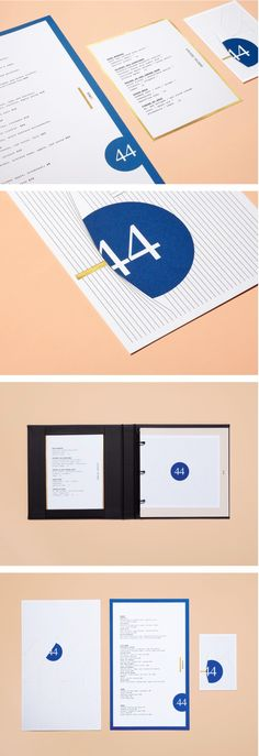 Forty-Four Restaurant Branding by LMNOP Brand Identity Design, Menu Design, Stationery Design, Graphic Design Typography, Brochure Design, Branding Design, Corporate Design, Layout Design, Print Design