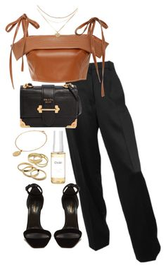 """""""Untitled #5321"""" by theeuropeancloset on Polyvore featuring Yves Saint Laurent, Prada, CINDERELA B, Ouai and Kendra Scott"""