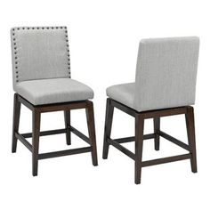 Brassex Ivy Grey Fabric Swivel Bar Stool (Set of