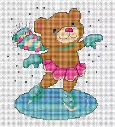 Teddy Girl on Ice cross stitch pattern