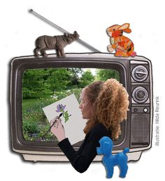 illustration mixed media photocollage with television   design by Hilde Reurink