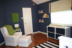 Navy, White and Green Nursery