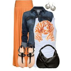 summertime work. I think I need some more of this orangey color in my life. I like the idea of the skirt and scarf