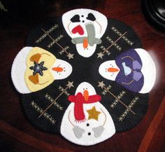 """Hand Stitched 15"""" Snowmen and Feather Tree Winter/Christmas Candle Mat-Penny Rug.....OFG Team"""