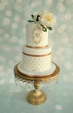 Elegant White Gold 50th Two Tier Birthday Cake Willi Probst