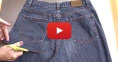 Pas de couture, juste un vieux jeans et une paire de ciseaux – et le résultat est d'un chic !
