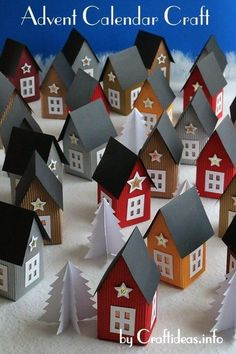 Count down to Christmas in a unique way with this Scandinavian-Inspired Paper Village Advent Calendar! This easy Christmas craft is perfect for all ages. Easy Christmas Crafts, Noel Christmas, Christmas Projects, Simple Christmas, Handmade Christmas, Christmas Decorations, Christmas Tables, Nordic Christmas, Christmas Stockings