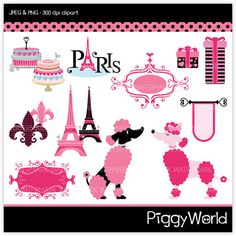 PW2 Pink Back Parisian Poodle  digital clipart  by littlefairyland, $4.00