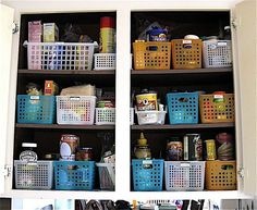 Using baskets to organize and access ingredients easily - apartmenttherapy.com