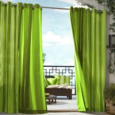 Outdoor decor Gazebo Stripe Indoor Outdoor Window Panels, 50 by 96, Green by Outdoor decor. $48.92. Machine washable. Made in china. Color green. 50 Wide by 96 long. Water repellent, fade resistant, mildew resistant polyester. 100% Polyester. Gazebo Stripe grommet top panels are yarn dyed polyester, engineered for indoor and outdoor use. These panels resist fading, are mildew proof, and repel water. Panels are easy care machine washable, and easy to install grommet ring m...