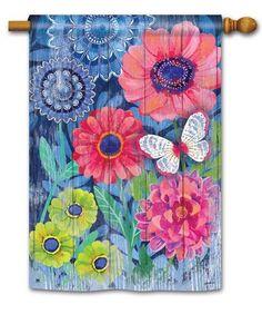 Indigo Garden Whimsical Flowers & Butterfly   House Flag  #BreezeArt