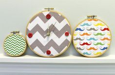 Wall Clock Trio Embroidery Hoop Wall Art Chevron by DeMossDesigns, $23.00
