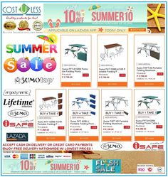 Get ready for Summer. Hit he beach and carry these Foldable Picnic Table @ Lazada Shop Online - Summer Sale! Get 10% Off  with a Minimum Purchase of 2,000.00 to our Foldable Picnic Tables using Voucher Code:SUMMER10 Applicable on LAZADA APP! Promo is Today Only! Free Delivery Anywhere in Philippines! Credit Card Payments Accepted! Cash On Delivery! http://www.lazada.com.ph/catalog/?q=picnic+table+cost+u+less