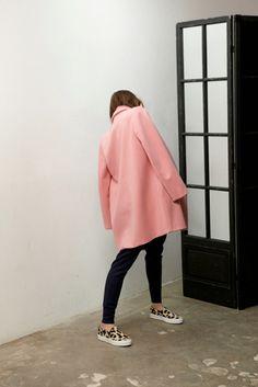 Pink coat and leopard flats