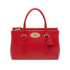 Mulberry Chinese New Year Gifts - Bayswater Double Zip Tote in Bright Red Shiny Goat
